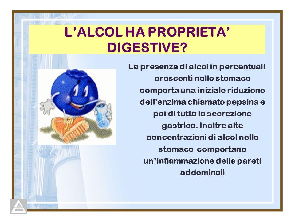 LALCOL HA PROPRIETA DIGESTIVE? La presenza di alcol in percentuali crescenti nello stomaco comporta una iniziale riduzione dellenzima chiamato pepsina