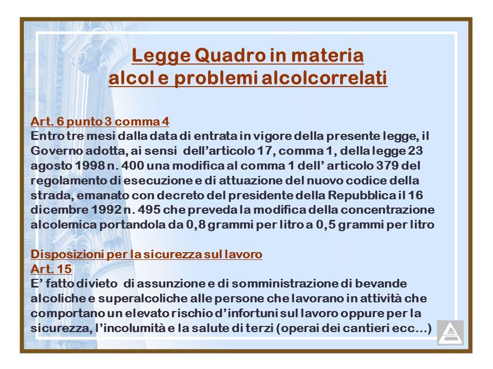 Legge Quadro in materia alcol e problemi alcolcorrelati Art. 6 punto 3 comma 4 Entro tre mesi dalla data di entrata in vigore della presente legge, il