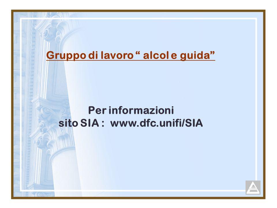 Gruppo di lavoro alcol e guida Per informazioni sito SIA : www.dfc.unifi/SIA