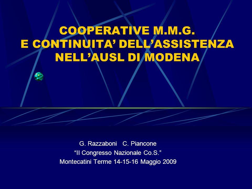 COOPERATIVE M.M.G. E CONTINUITA DELLASSISTENZA NELLAUSL DI MODENA G. Razzaboni C. Piancone II Congresso Nazionale Co.S. Montecatini Terme 14-15-16 Mag