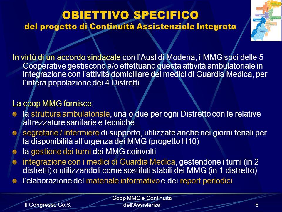 II Congresso Co.S. Coop MMG e Continuità dell'Assistenza6 OBIETTIVO SPECIFICO del progetto di Continuità Assistenziale Integrata In virtù di un accord