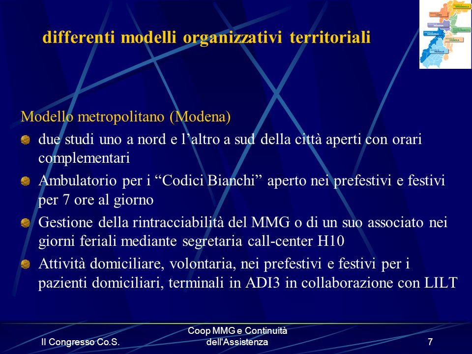 II Congresso Co.S. Coop MMG e Continuità dell'Assistenza7 differenti modelli organizzativi territoriali Modello metropolitano (Modena) due studi uno a