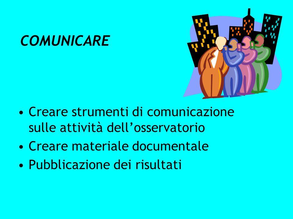 COMUNICARE Creare strumenti di comunicazione sulle attività dellosservatorio Creare materiale documentale Pubblicazione dei risultati