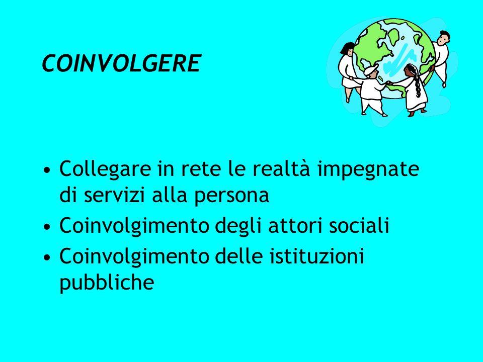 COINVOLGERE Collegare in rete le realtà impegnate di servizi alla persona Coinvolgimento degli attori sociali Coinvolgimento delle istituzioni pubblic