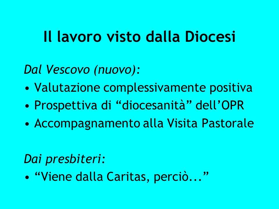Il lavoro visto dalla Diocesi Dal Vescovo (nuovo): Valutazione complessivamente positiva Prospettiva di diocesanità dellOPR Accompagnamento alla Visit