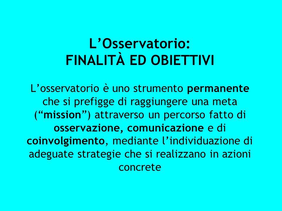 LOsservatorio: FINALITÀ ED OBIETTIVI Losservatorio è uno strumento permanente che si prefigge di raggiungere una meta (mission) attraverso un percorso