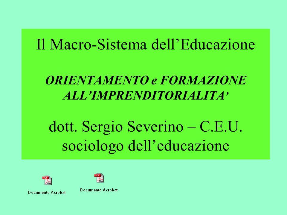 Il Macro-Sistema dellEducazione ORIENTAMENTO e FORMAZIONE ALLIMPRENDITORIALITA dott. Sergio Severino – C.E.U. sociologo delleducazione