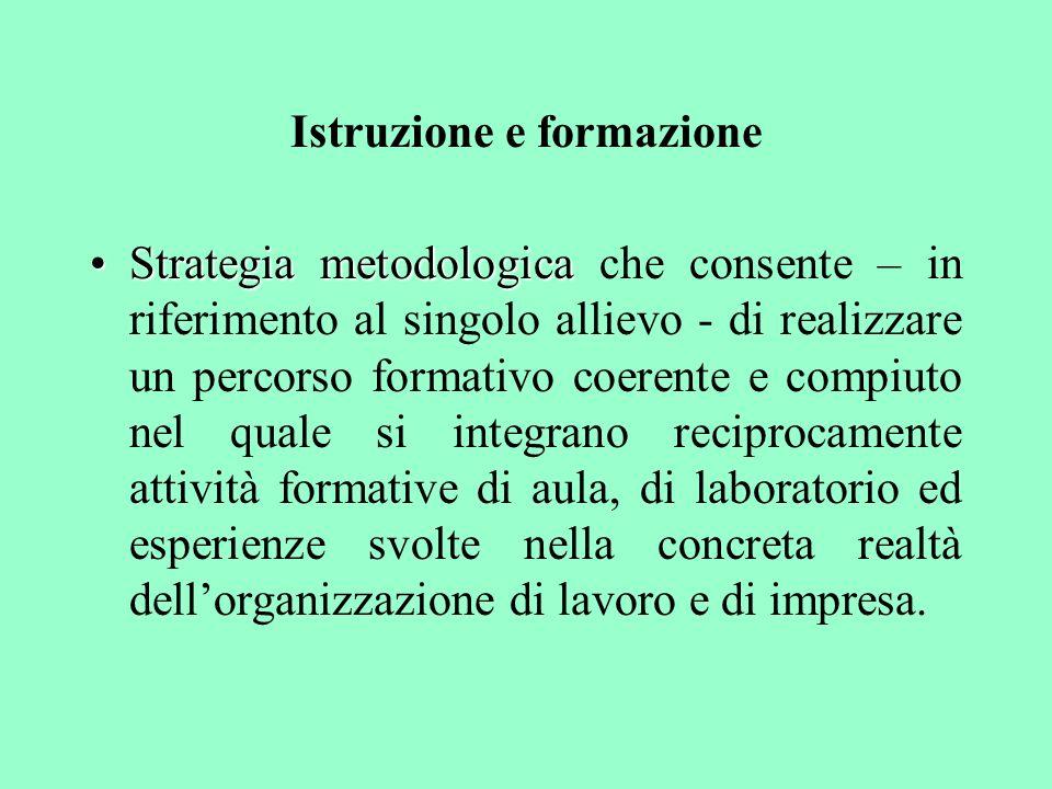 Istruzione e formazione Strategia metodologicaStrategia metodologica che consente – in riferimento al singolo allievo - di realizzare un percorso form