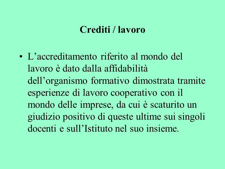 Crediti / lavoro Laccreditamento riferito al mondo del lavoro è dato dalla affidabilità dellorganismo formativo dimostrata tramite esperienze di lavor