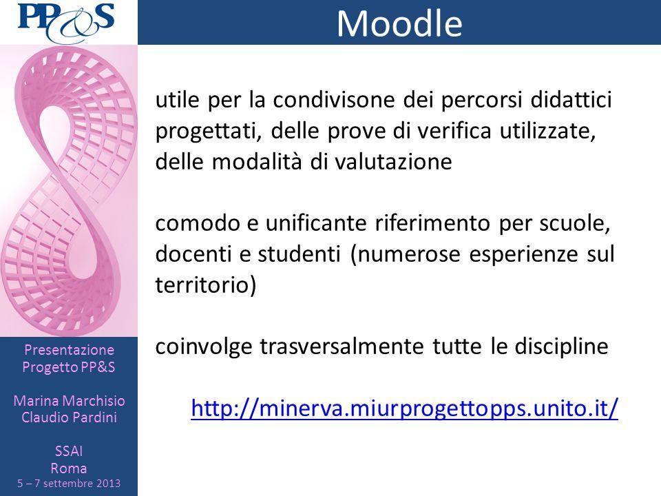 Presentazione Progetto PP&S Marina Marchisio Claudio Pardini SSAI Roma 5 – 7 settembre 2013 Moodle utile per la condivisone dei percorsi didattici pro