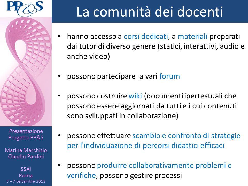 Presentazione Progetto PP&S Marina Marchisio Claudio Pardini SSAI Roma 5 – 7 settembre 2013 La comunità dei docenti hanno accesso a corsi dedicati, a