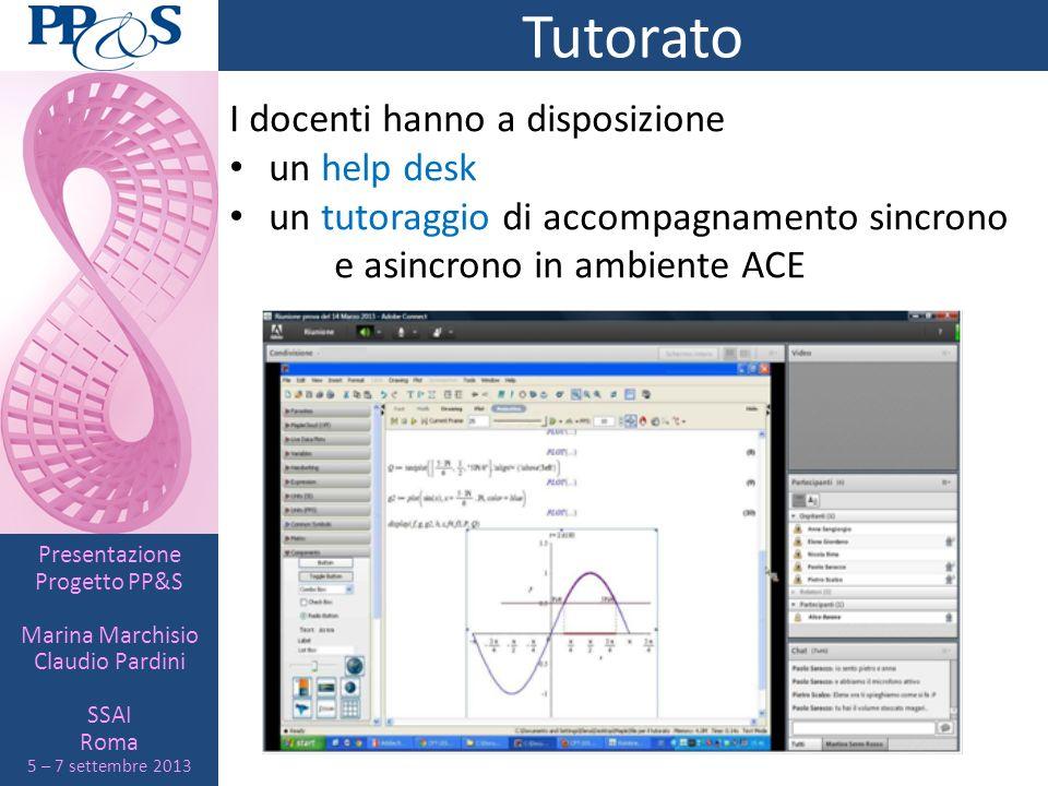 Presentazione Progetto PP&S Marina Marchisio Claudio Pardini SSAI Roma 5 – 7 settembre 2013 Tutorato I docenti hanno a disposizione un help desk un tu