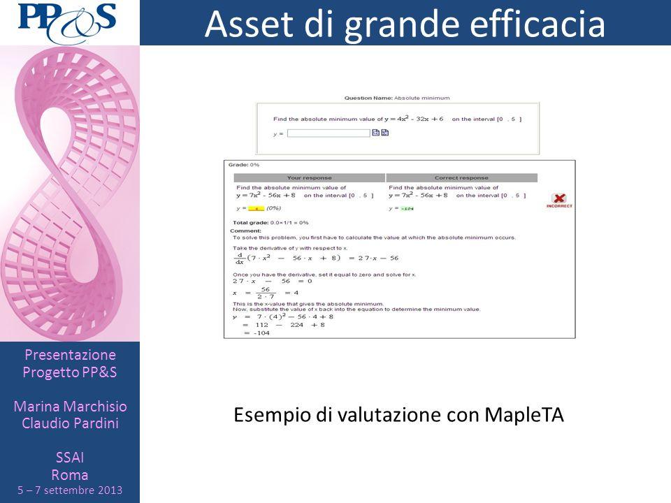 Presentazione Progetto PP&S Marina Marchisio Claudio Pardini SSAI Roma 5 – 7 settembre 2013 Asset di grande efficacia Esempio di valutazione con Maple