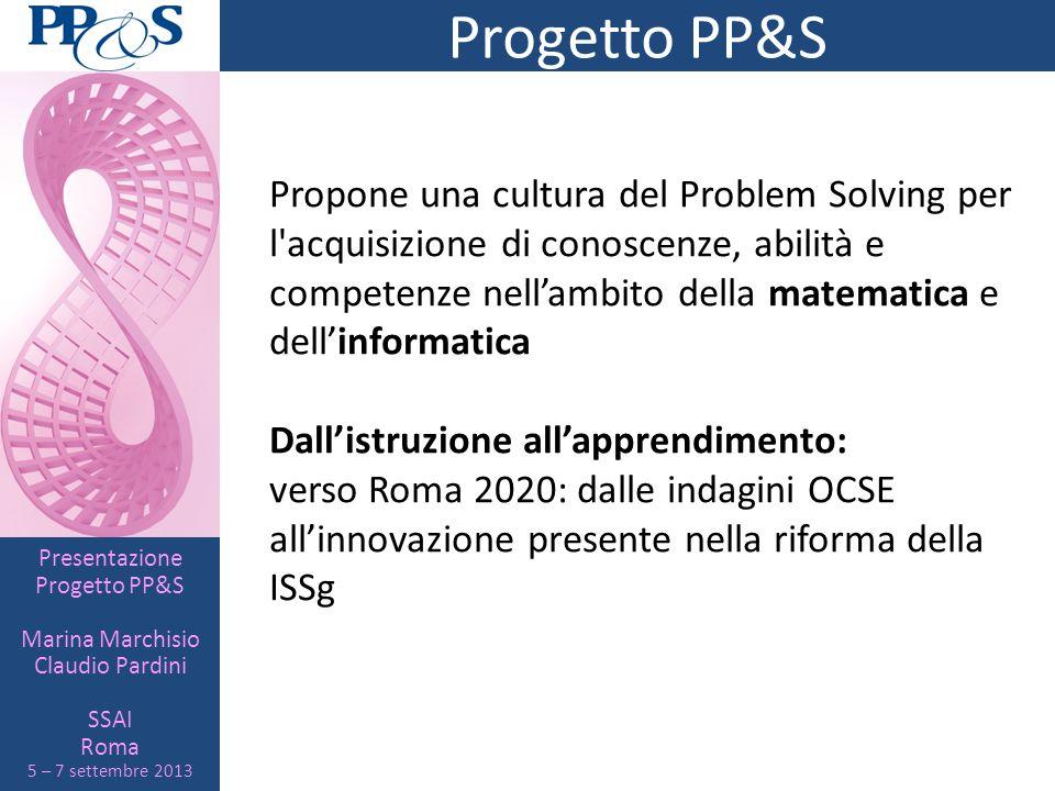 Presentazione Progetto PP&S Marina Marchisio Claudio Pardini SSAI Roma 5 – 7 settembre 2013 La suite Maple Perché Maple.