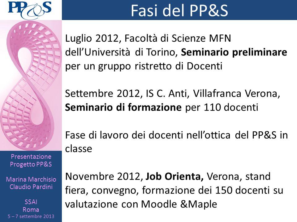 Presentazione Progetto PP&S Marina Marchisio Claudio Pardini SSAI Roma 5 – 7 settembre 2013 Fasi del PP&S Luglio 2012, Facoltà di Scienze MFN dellUniv