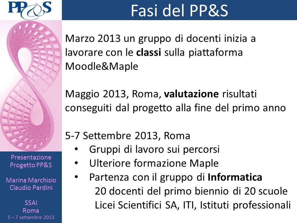 Presentazione Progetto PP&S Marina Marchisio Claudio Pardini SSAI Roma 5 – 7 settembre 2013 Fasi del PP&S Marzo 2013 un gruppo di docenti inizia a lav