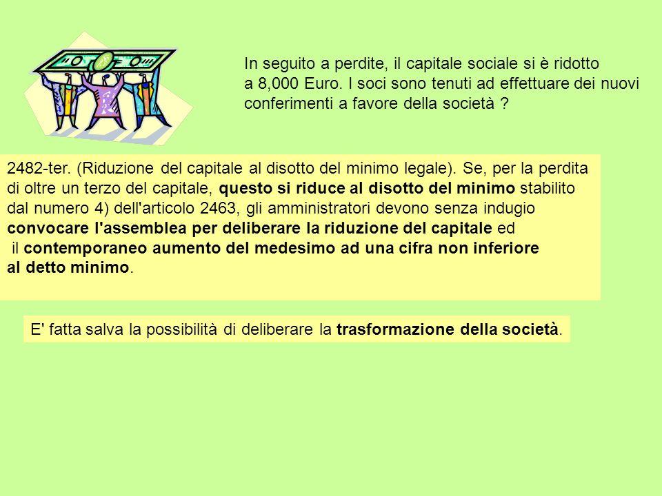 In seguito a perdite, il capitale sociale si è ridotto a 8,000 Euro. I soci sono tenuti ad effettuare dei nuovi conferimenti a favore della società ?