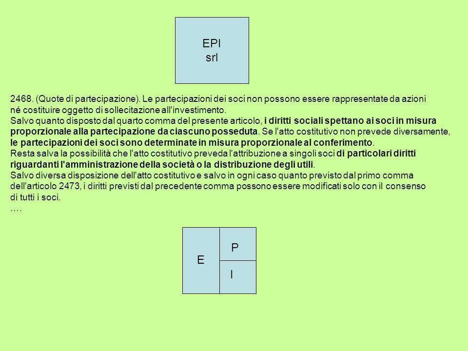 EPI srl 2468. (Quote di partecipazione). Le partecipazioni dei soci non possono essere rappresentate da azioni né costituire oggetto di sollecitazione