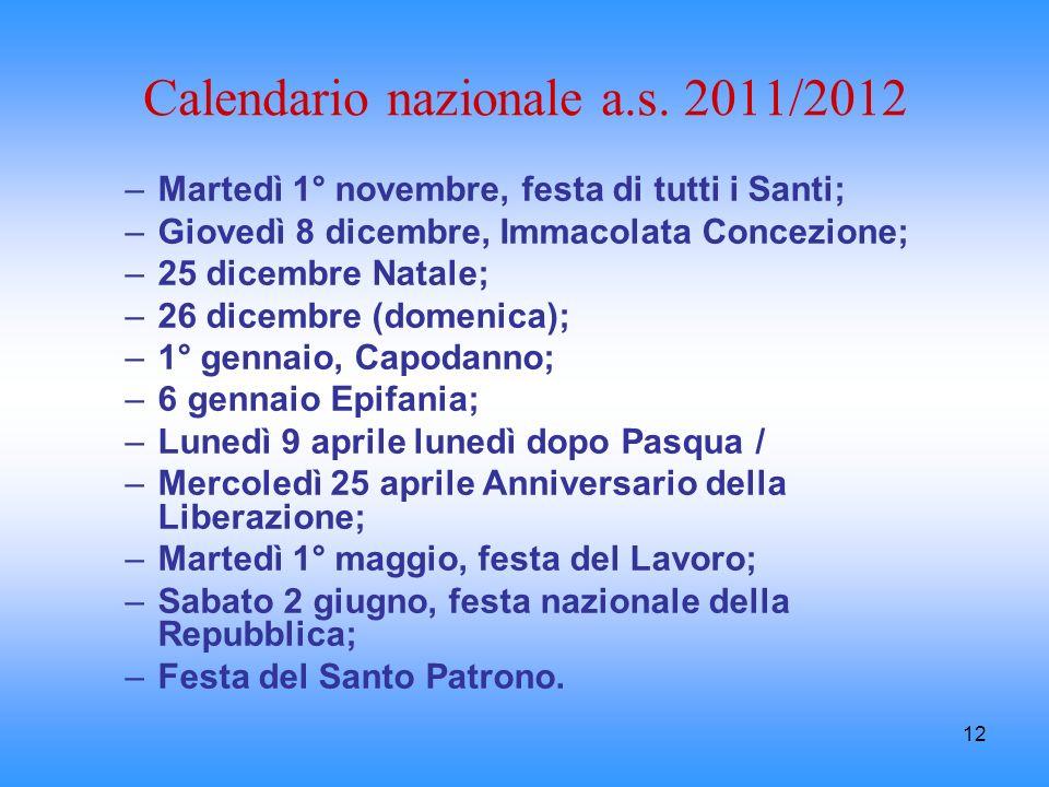 12 Calendario nazionale a.s. 2011/2012 –Martedì 1° novembre, festa di tutti i Santi; –Giovedì 8 dicembre, Immacolata Concezione; –25 dicembre Natale;