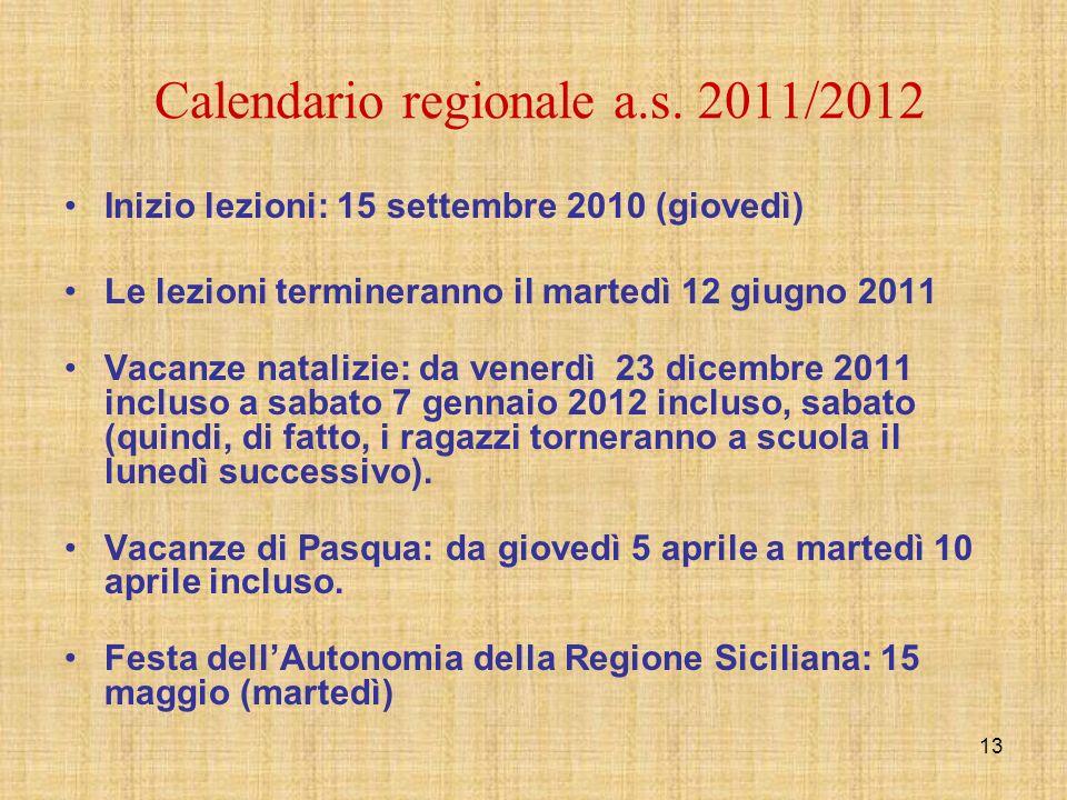 13 Calendario regionale a.s. 2011/2012 Inizio lezioni: 15 settembre 2010 (giovedì) Le lezioni termineranno il martedì 12 giugno 2011 Vacanze natalizie