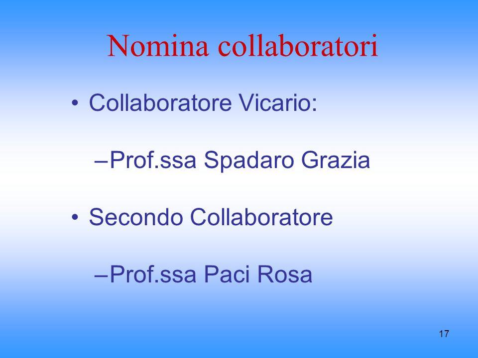 17 Nomina collaboratori Collaboratore Vicario: –Prof.ssa Spadaro Grazia Secondo Collaboratore –Prof.ssa Paci Rosa