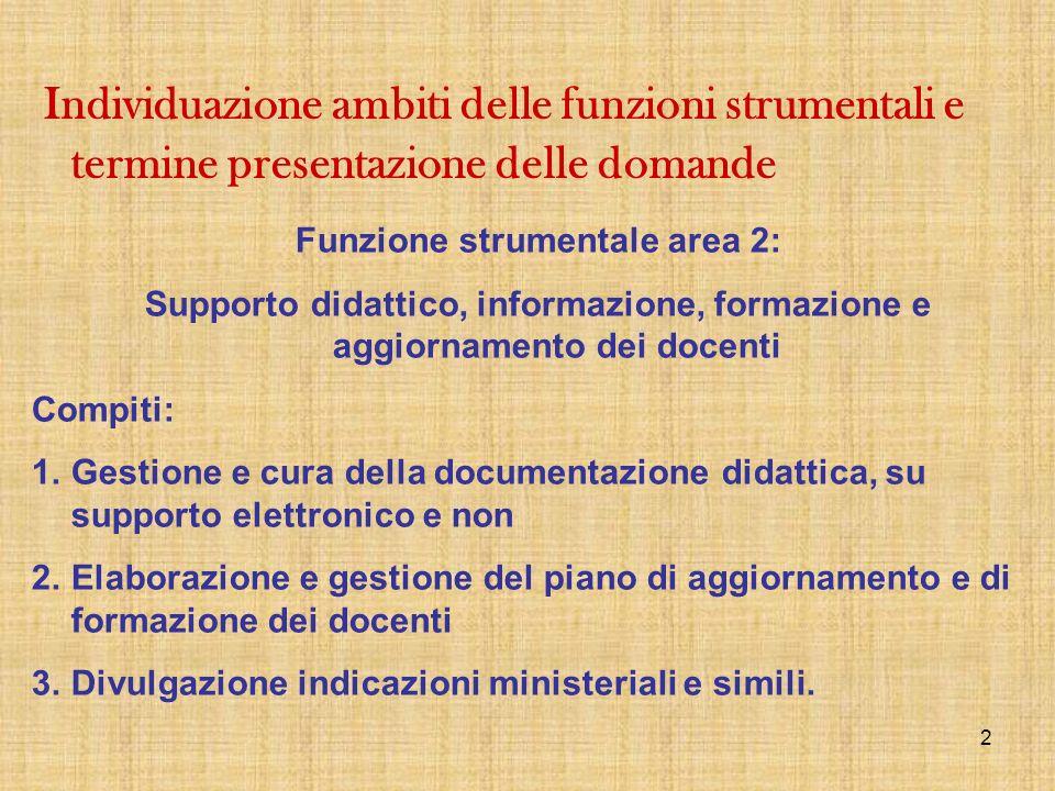 2 Funzione strumentale area 2: Supporto didattico, informazione, formazione e aggiornamento dei docenti Compiti: 1.Gestione e cura della documentazion