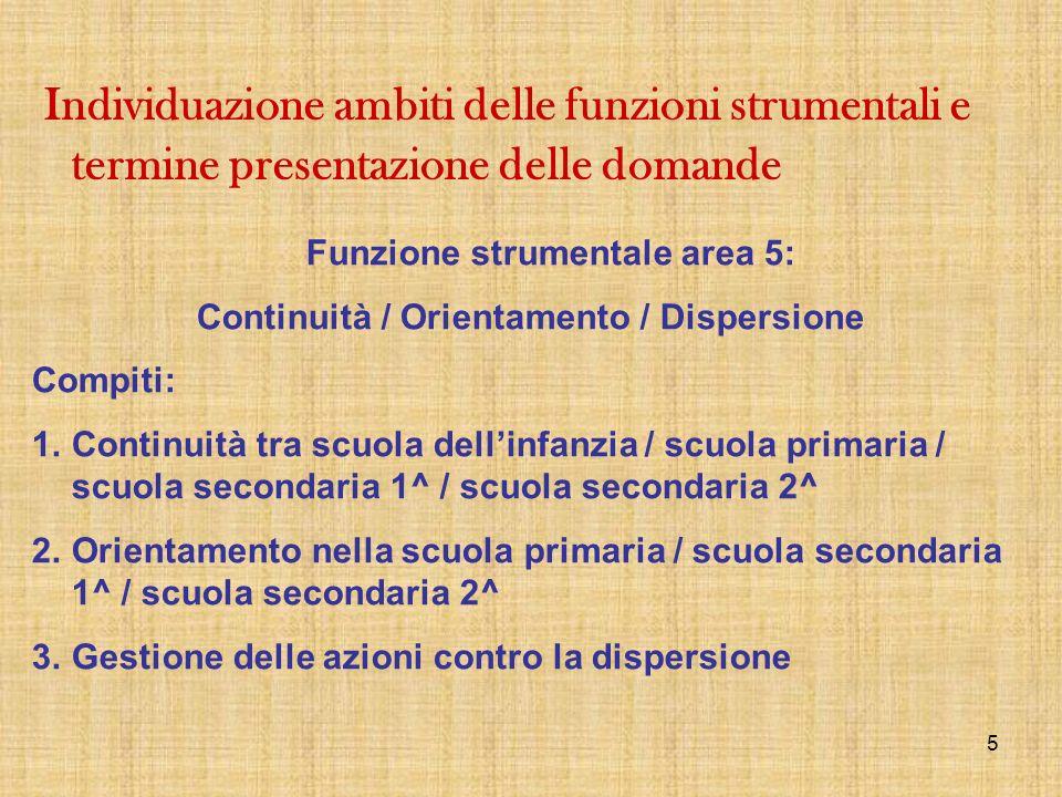 5 Funzione strumentale area 5: Continuità / Orientamento / Dispersione Compiti: 1.Continuità tra scuola dellinfanzia / scuola primaria / scuola second
