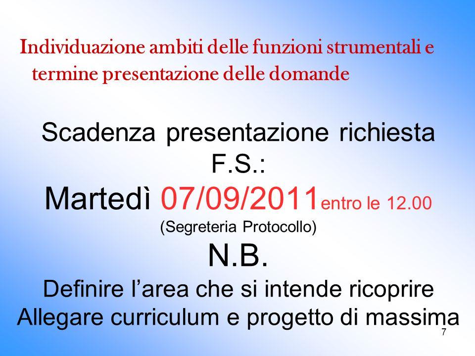 7 Scadenza presentazione richiesta F.S.: Martedì 07/09/2011 entro le 12.00 (Segreteria Protocollo) N.B. Definire larea che si intende ricoprire Allega