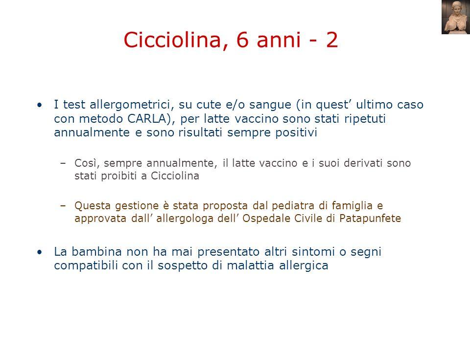 Cicciolina, 6 anni - 2 I test allergometrici, su cute e/o sangue (in quest ultimo caso con metodo CARLA), per latte vaccino sono stati ripetuti annual
