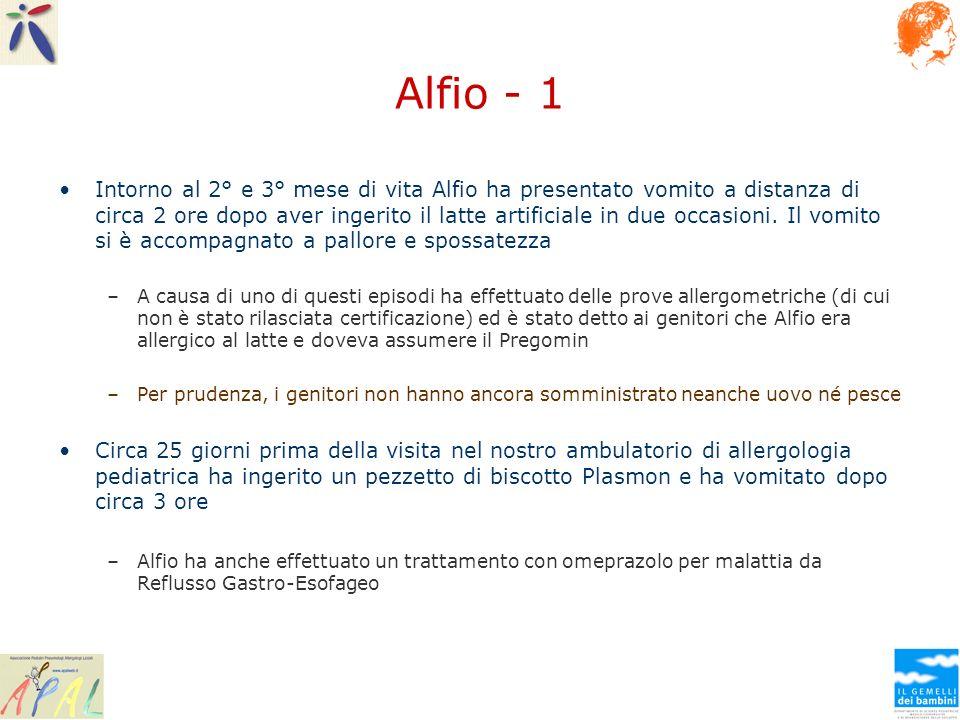 Alfio - 1 Intorno al 2° e 3° mese di vita Alfio ha presentato vomito a distanza di circa 2 ore dopo aver ingerito il latte artificiale in due occasion