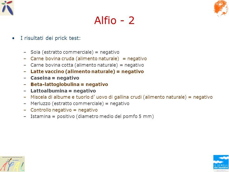 Alfio - 2 I risultati dei prick test: –Soia (estratto commerciale) = negativo –Carne bovina cruda (alimento naturale) = negativo –Carne bovina cotta (