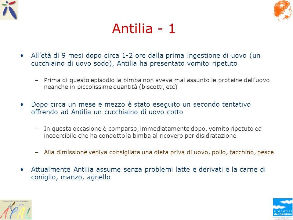 Antilia - 1 Alletà di 9 mesi dopo circa 1-2 ore dalla prima ingestione di uovo (un cucchiaino di uovo sodo), Antilia ha presentato vomito ripetuto –Pr
