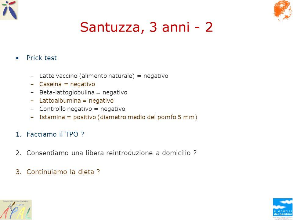 Santuzza, 3 anni - 2 Prick test –Latte vaccino (alimento naturale) = negativo –Caseina = negativo –Beta-lattoglobulina = negativo –Lattoalbumina = neg