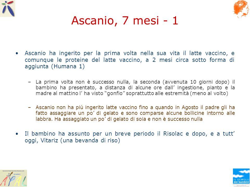 Ascanio, 7 mesi - 1 Ascanio ha ingerito per la prima volta nella sua vita il latte vaccino, e comunque le proteine del latte vaccino, a 2 mesi circa s