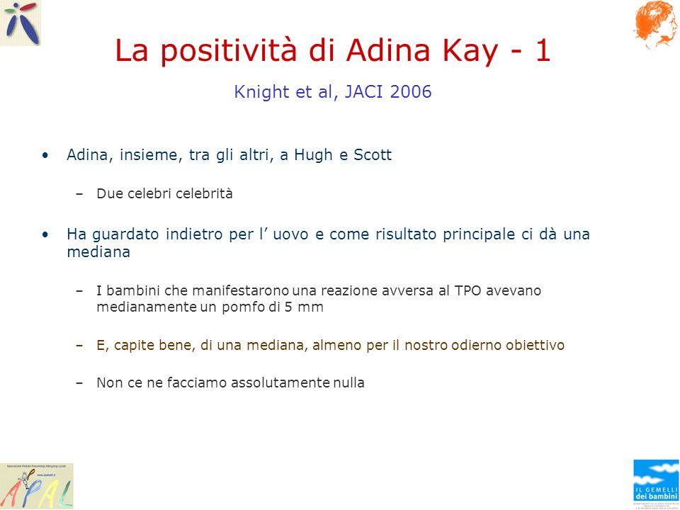 La positività di Adina Kay - 1 Knight et al, JACI 2006 Adina, insieme, tra gli altri, a Hugh e Scott –Due celebri celebrità Ha guardato indietro per l