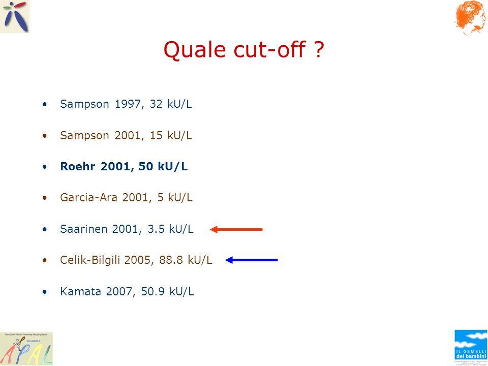 Quale cut-off ? Sampson 1997, 32 kU/L Sampson 2001, 15 kU/L Roehr 2001, 50 kU/L Garcia-Ara 2001, 5 kU/L Saarinen 2001, 3.5 kU/L Celik-Bilgili 2005, 88