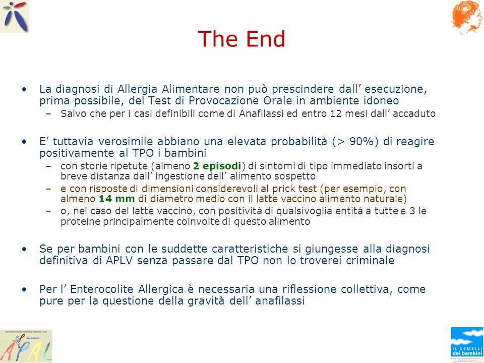 The End La diagnosi di Allergia Alimentare non può prescindere dall esecuzione, prima possibile, del Test di Provocazione Orale in ambiente idoneo –Sa