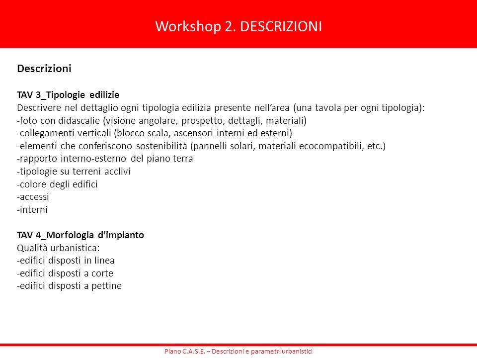 Workshop 2. DESCRIZIONI Descrizioni TAV 3_Tipologie edilizie Descrivere nel dettaglio ogni tipologia edilizia presente nellarea (una tavola per ogni t