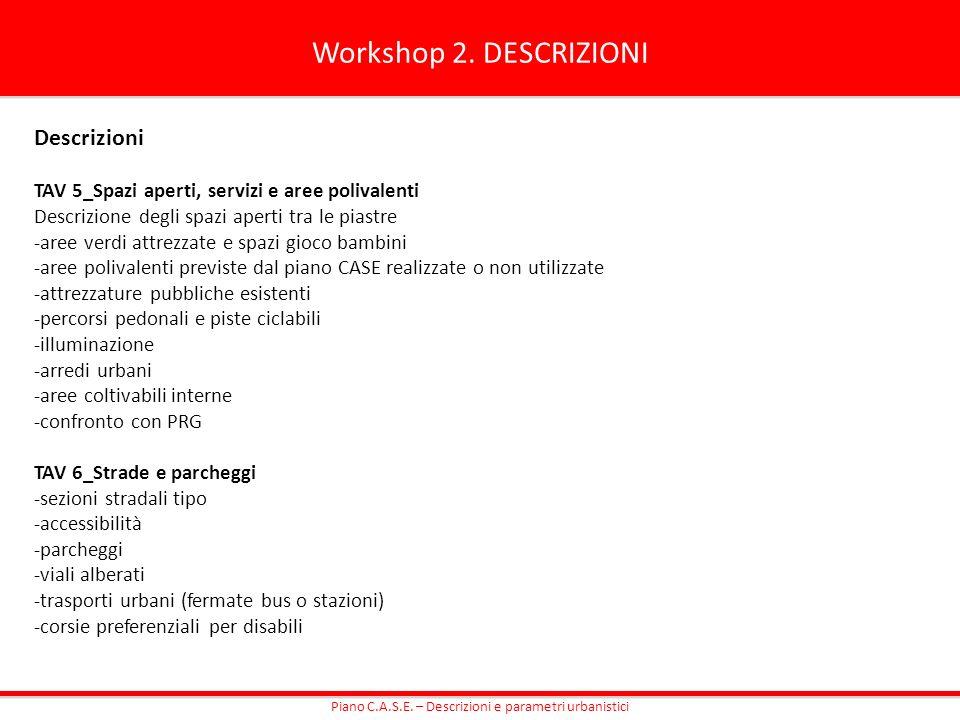 Workshop 2. DESCRIZIONI Descrizioni TAV 5_Spazi aperti, servizi e aree polivalenti Descrizione degli spazi aperti tra le piastre -aree verdi attrezzat