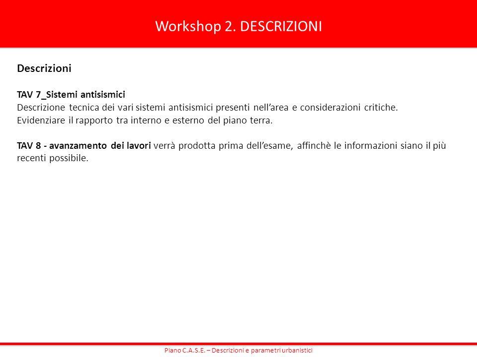 Workshop 2. DESCRIZIONI Descrizioni TAV 7_Sistemi antisismici Descrizione tecnica dei vari sistemi antisismici presenti nellarea e considerazioni crit