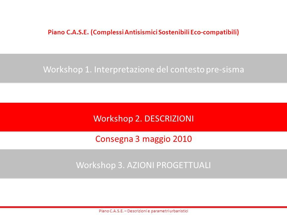 Piano C.A.S.E. (Complessi Antisismici Sostenibili Eco-compatibili) Workshop 1. Interpretazione del contesto pre-sisma Workshop 2. DESCRIZIONI Workshop