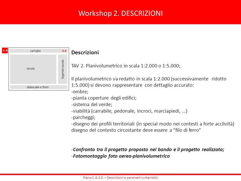 Workshop 2. DESCRIZIONI Descrizioni TAV 2. Planivolumetrico in scala 1:2.000 o 1:5.000; Il planivolumetrico va redatto in scala 1:2.000 (successivamen