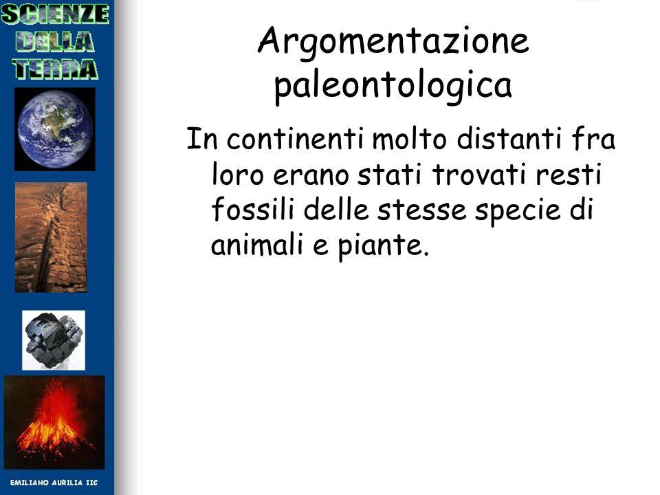 Argomentazione paleontologica In continenti molto distanti fra loro erano stati trovati resti fossili delle stesse specie di animali e piante.