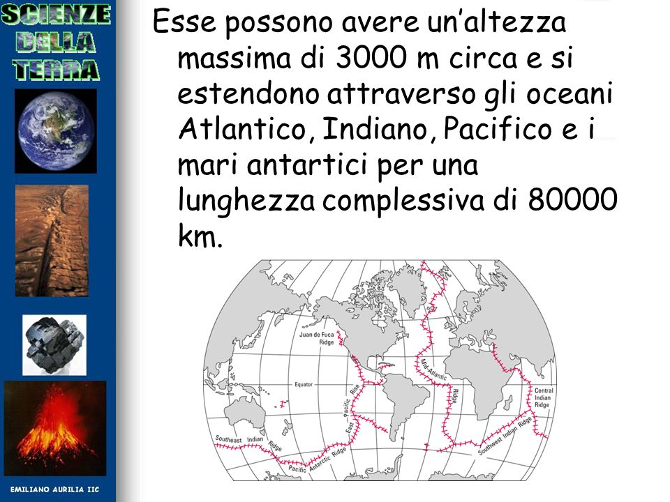 Esse possono avere unaltezza massima di 3000 m circa e si estendono attraverso gli oceani Atlantico, Indiano, Pacifico e i mari antartici per una lung