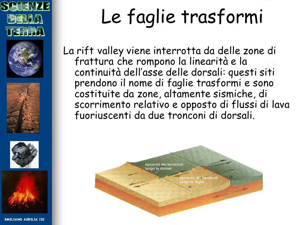 Le faglie trasformi La rift valley viene interrotta da delle zone di frattura che rompono la linearità e la continuità dellasse delle dorsali: questi