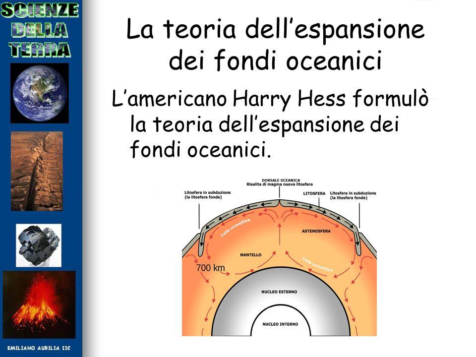 La teoria dellespansione dei fondi oceanici Lamericano Harry Hess formulò la teoria dellespansione dei fondi oceanici.