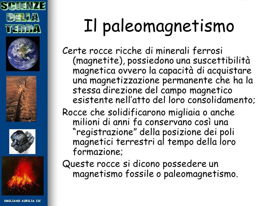 Il paleomagnetismo Certe rocce ricche di minerali ferrosi (magnetite), possiedono una suscettibilità magnetica ovvero la capacità di acquistare una ma