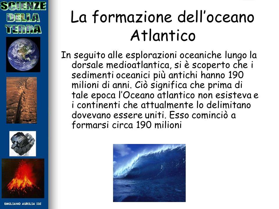 La formazione delloceano Atlantico In seguito alle esplorazioni oceaniche lungo la dorsale medioatlantica, si è scoperto che i sedimenti oceanici più