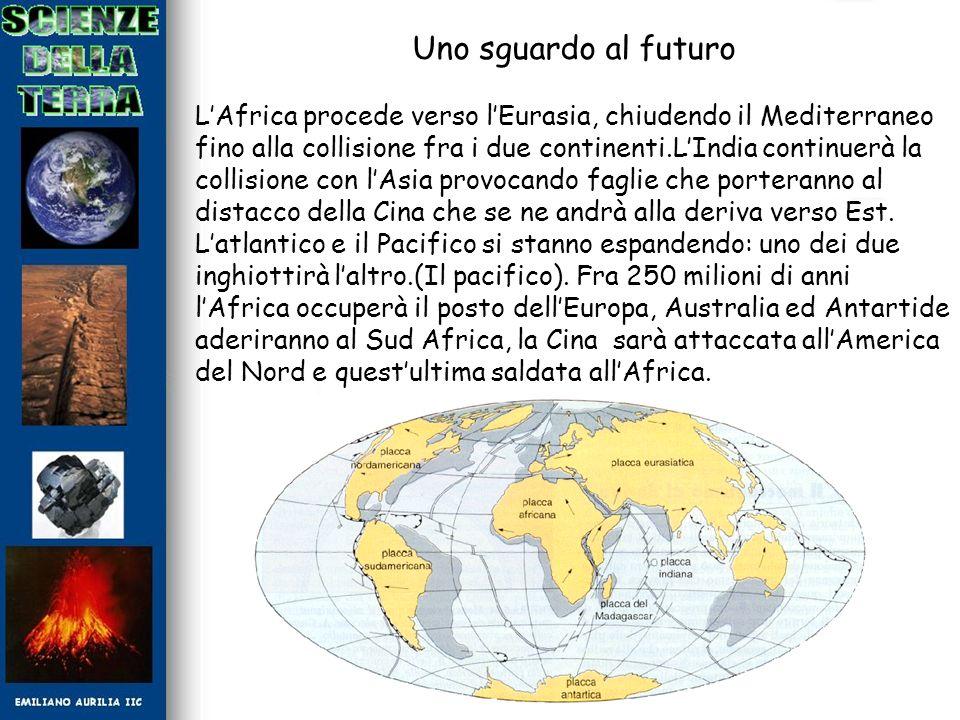 Uno sguardo al futuro LAfrica procede verso lEurasia, chiudendo il Mediterraneo fino alla collisione fra i due continenti.LIndia continuerà la collisi