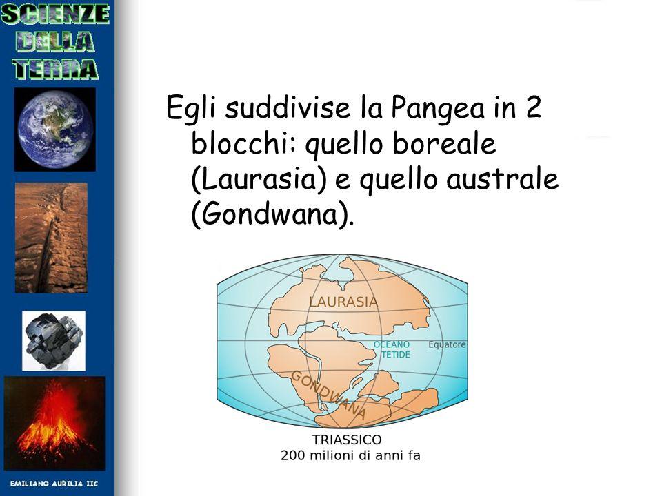 Egli suddivise la Pangea in 2 blocchi: quello boreale (Laurasia) e quello australe (Gondwana).